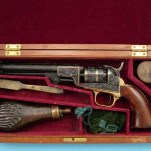 Lot 409 Detail 1 300x300 - Gold-Inlaid Colt Model 1849 Pocket Revolver